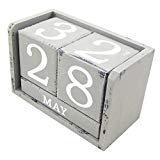 Dauerkalender Würfel im Antik Stil grau Stehkalender im Shabby Look Kalender für Ihren Schreibtisch