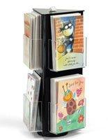 displays2go Acryl Grußkarte Display stehen, mit Klar Taschen für zinntheken Verwenden, drehbar Dreieck mit Schild Clip, schwarz (gchac6) Countertop Spinner