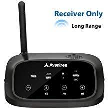 Avantree 30m HOHE REICHWEITE Bluetooth Empfänger für Stereoanlage, HiFi, True Wireless Stereo TWS für Lautsprecher Verstärker, aptX Low Latency, OPTISCH Cinch 3,5mm AUX Audio Adapter Receiver - RC500