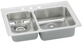 Bowl Top Mount Kitchen Sink (Elkao|#Elkay LWR3322R1 18 Gauge Stainless Steel 33 Inch x 22 Inch x 7.625 Inch Double Bowl Top Mount Kitchen Sink, Small Bowl On Right, 1 Faucet Hole, by Elkay)