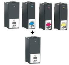 Lexmark No.100XL Combo Pack Cartouche d'encre - Noir / Cyan / Magenta / Jaune 5 Neuf Compatible 100XL (couleur: 2x Noir, 1x Cyan, 1x Magenta, 1x Jaune) Cartouche d'encre d'imprimante pour LEXMARK S305 S405 S505 S605 S308 S408 S508 S608 S205 S815 S816 / Pro205 Pro208 Pro705 Pro708 Pro805 Pro808 Pro905 Pro901 Pro908 Series modèles d'imprimantes par TruImage