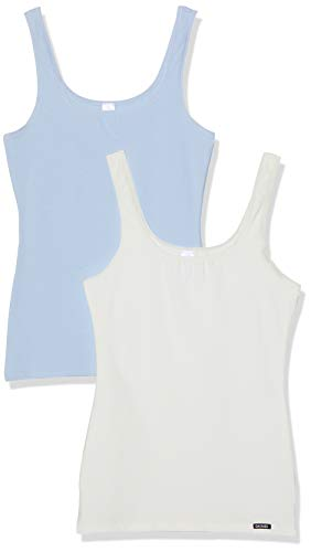 Skiny advantage cotton tank top 2er pack vestaglia, multicolore (heather selection 1851), 46 (taglia produttore: 40) (pacco da 2) donna