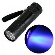 Invisible Ink Marker 9LED UV Ultra Violet 3 AAA Battery Flashlight Torch Light-Black