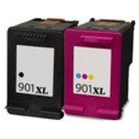 Cartucho de tinta para impresora-LDLC Lote económico compatible con HP 901 XL (C) BK-Juego de 2 cartuchos de tinta () color negro