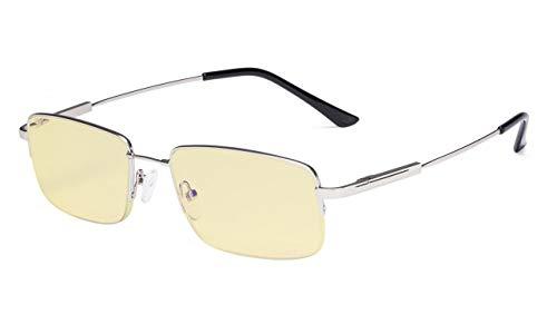 Eyekeppe Herren Computerbrille,mit Blaulichtfilter lesebrillen Halbrandform Memory Titanium in Silber+2.25