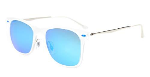Eyekepper Flash-Revo Spiegel Linse polarisierten Sonnenbrillen Titan Tempel TR90 Rahmen Blau Spiegel