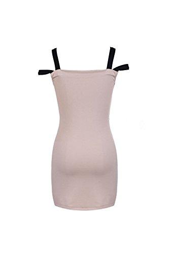 Donna Elegante Senza Spalline Colorblock Diviso In Estate Bodycon Vestito Scollato Pink