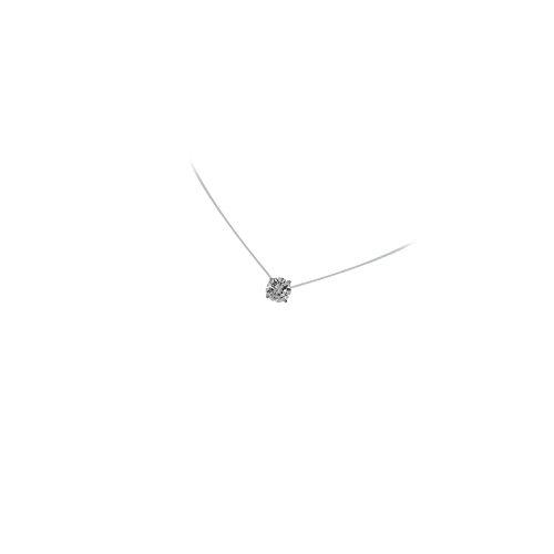 MaryJane Collier Fil Nylon Pendentif en Argent 925/000 Rhodié et Oxyde de Zirconium Forme Ronde Solitaire Cercle - 3 mm - Bijoux Femme
