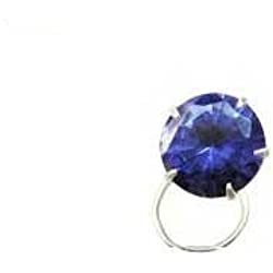 Vinayak Sterling Silver Color American Diamond Nose Pin (blue)