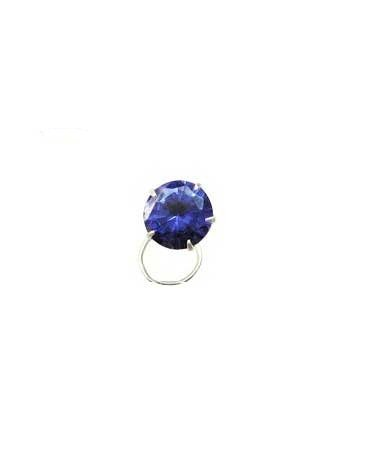 Vinayak Sterling Silver Color American Diamond Nose Pin (blue)