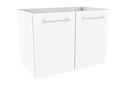 FACKELMANN Waschtischunterschrank Lima/Badschrank mit Soft-Close-System/Maße (B x H x T): ca. 59 x 42 x 33 cm/hochwertiger Badezimmerschrank/Korpus: Weiß/Front: Weiß Hochglanz