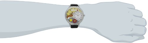 Image of Whimsical Watches Corgi Black Skin Leather and Silvertone Unisex Quartz Watch with White Dial Analogue Display and Multicolour Leather Strap U-0130029