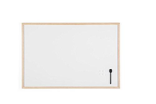 Bi-Office Budget - Pizarra blanca magnética con marco de madera de pino, 90 x 60 cm