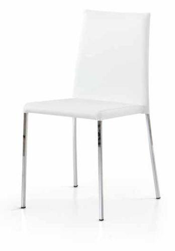 Bois & Design Set x 2 Chaise Moderne Acier chromé Cuisine Bar Restaurant recouverte Simili Cuir Blanc