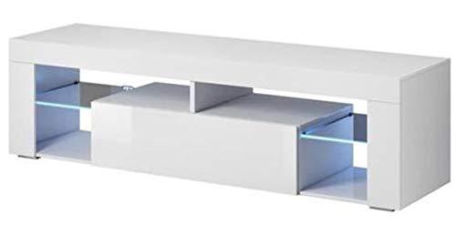 PEGANE Meuble TV avec éclairage LED, Coloris Blanc/Blanc Brillant - Dim : 160 x 35 x 55 cm