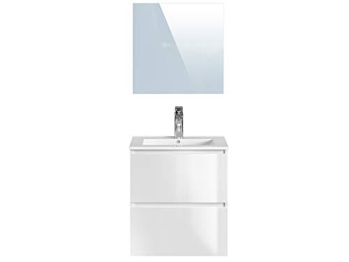 Marca Amazon -Movian Dive - Mueble de baño con espejo y lavabo, 61 x 46,5 x 68 cm, blanco