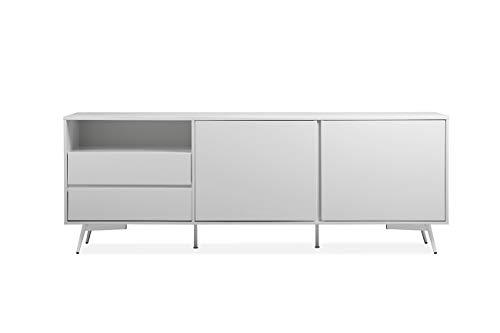 Meubletmoi Buffet Blanc Contemporain 2 Portes 2 tiroirs en Bois et Pied métal - Collection Moderne Chic - Snow