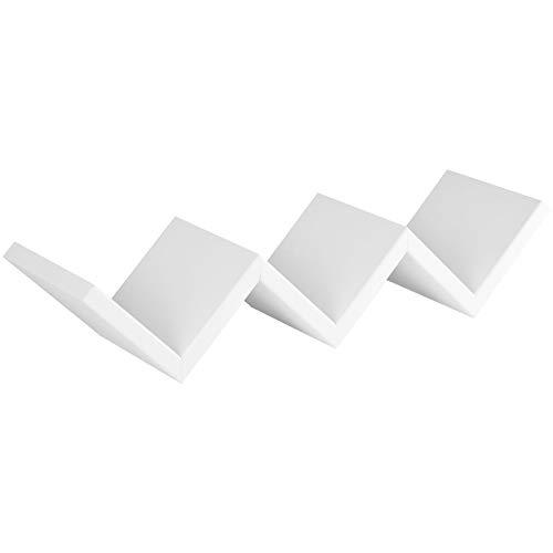 Milo srl cubi mensole da parete pensili a giorno cubo design mensola moderna (bianco, zig zag)
