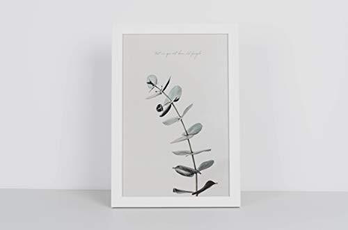 MILUKA Láminas para Enmarcar para Cuadro de Estilo Nórdico   Poster de Hojas Verdes   Varios Tamaños (20 x 30 cm Marco Blanco)