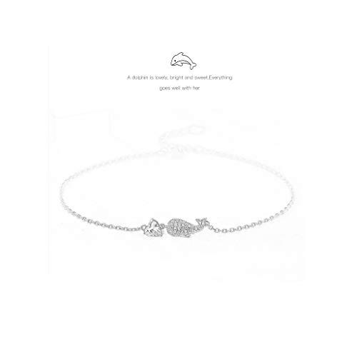 ZHAOHUIYING 925 Sterling Silber Fußkettchen Weiblicher Sinn Persönlichkeit Rose Gold Freundinnen Fuß Kette Fisch Einstellbar Geburtstag -