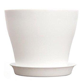 TOOGOO(R) Plastic Plant Flower Pot Planter With Saucer Tray Round Gloss Home Garden Decor, White Upper Caliber -, 17cm /