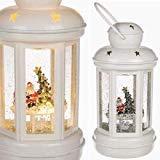 TOYLAND 20cm Design Decorazione Lanterna Luce–Babbo Natale e Albero di Natale con Glitter