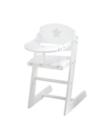 *roba Puppenhochstuhl aus der Puppenmöbel-Serie Stella, weißer Puppenstuhl aus Holz für Puppen und Babypuppen*