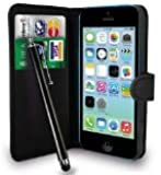 GAPlus® Black Leather Flip Wallet Slim Case Cover Pouch With Card Holder For Apple iPhone 5C + Free Screen Protector With Polishing Cloth And Stylus Pen (Black Wallet)