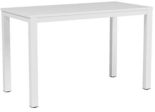 DlandHome 120 x 60 cm Computertisch Schreibtisch, anständig und Stabil, Holz, Moderner Bürotisch Arbeitstisch PC Laptop Tisch für Büroarbeit und Hausaufgaben, Weiß & Weiß