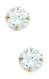 14ct Yellow Gold 7mm Round CZ Light Prong Set Earrings