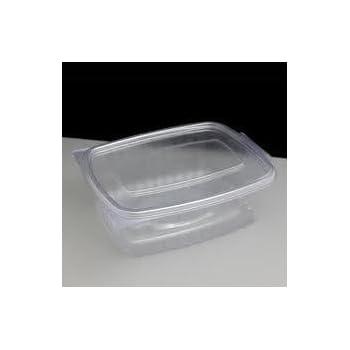 50 x Rectangular Pasta SALAD Hinged Catering Take Away BOX 375cc