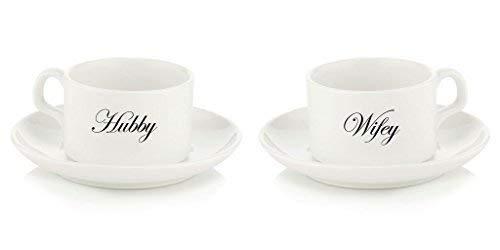 Coppie hubby wifey tazza piattino e ceramica cucchiaio set regalo 114ml tazza ceramica matrimonio regalo anniversario san valentino