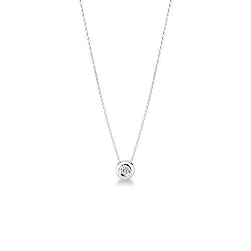 Gioielli di Valenza Collana Punto Luce Grande Oro Bianco 18k con Diamante