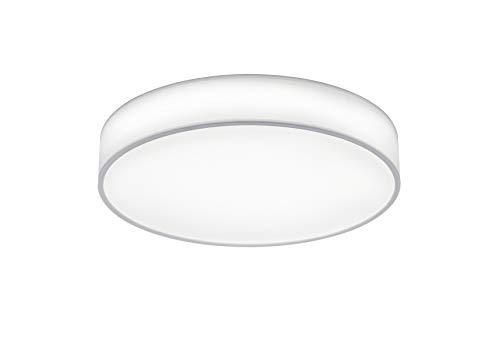lightling modern LED-Deckenleuchte Chantal mit integriertem 40W LED Leuchtmittel (A+) und Fernbedienung (dimmbar und Lichtfarbe verstellbar), Stoffschirm weiß, ø 60 cm, Höhe: 10 cm