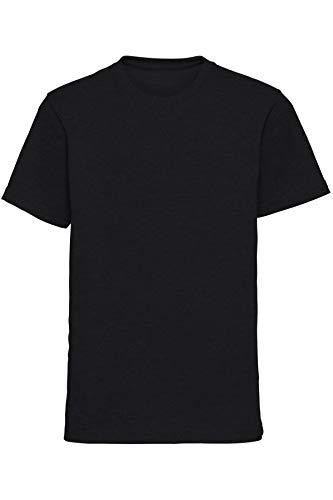 Mivaro Jungen T-Shirt mit Rundhals meliert einfarbig Bügelfrei, Farbe:Schwarz, Größe:164