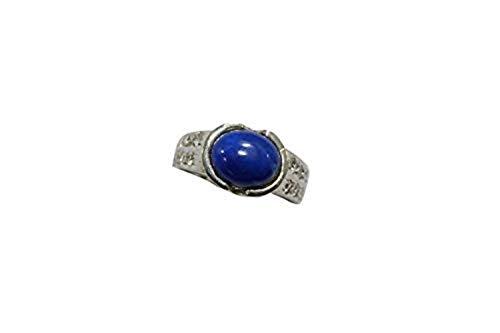 Rajasthan Gems Herren-Ring 925 Sterlingsilber echter Lapislazuli Zirkonia