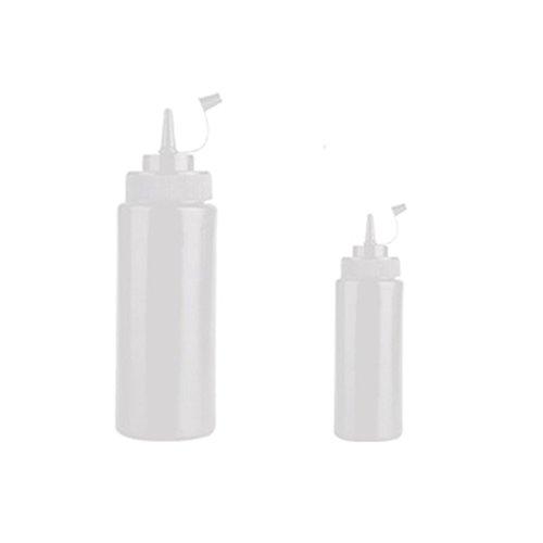EQLEF® 2 Stücke 6 und 13 oz Kunststoff Squeeze-Flaschen mit Twist auf Deckel Deckel Top-Spender für Ketchup Senf Weiß