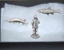 Lot de 3 coffret cadeau Broche en forme de pêcheur Badges- pêche du brochet Chub.