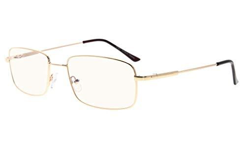 Eyekepper Lesen Gläser-Blau Licht Blockierung-Reduzierte Eye Strain-Memory Computer Brille Titanium Leser Männer, Transparente Linse (Gold,+2.25)
