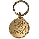 Live Love Bark Hund Knochen Pet Herz Bronze Schlüsselanhänger Pfotenabdruck Design -