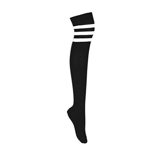 adam & eesa Damen Overknee Cosplay Oberschenkel hoch farbig 3 gestreifte Socken in 4 Farben