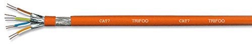 TRIFOO CAT7 100m Netzwerkkabel 1000Mhz Verlegekabel Datenkabel Installationskabel 10 Gigabit Ethernet LAN Kabel CAT.7 orange doppelt geschirmt SFTP AWG23 LSHF FRNC Kabel halogenfrei flammwidrig -
