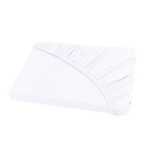 Jersey Spannbettlaken Leintuch Spannbetttuch - in allen Farben und Größen - 100% Baumwolle weiß 200 x 220 cm Wasserbetten & Boxspringbetten (Allergen Matratzenbezug)
