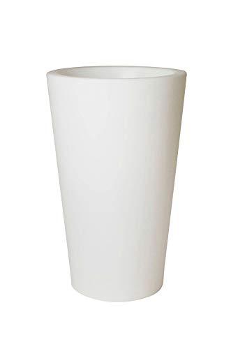 Vivanno Pflanzkübel Rondo Classico aus Kunststoff Beleuchtet, 70 cm, Weiß