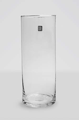 Maison Zoe Mundgeblasene und Handgefertigte Glasvase Zylinder Ø15cm - 50cm hoch - Blumenvase - Deko & Hochzeit