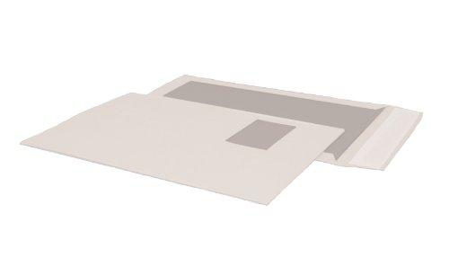 POSTHORN 00014009 Papprückwandtasche C4 (229x324 mm), Kraftpapier 120g weiß, Graupappe 450g, mit Fenster, haftklebend, 100 Stück