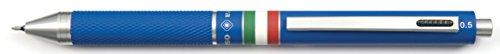 QUADRA penna design 4 funzioni fusto in metallo gommato blu