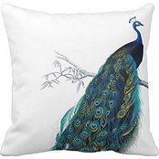 Blue Peacock With Beautiful Tail Feathers Pillow Case -
