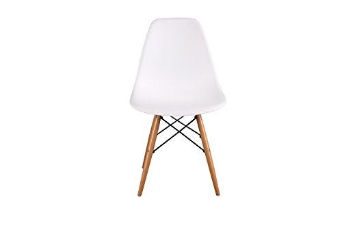 HNNHome Chaise en polypropylène et bois de hêtre, blanc, 55x47x82cm