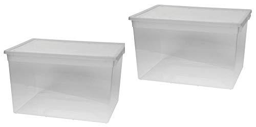 Kreher 2 Stück XXL Aufbewahrungsbox mit Deckel aus transparentem Kunststoff und XXL Stauvolumen! pro Box ca. 50 Liter, Maße: 37,6 x 52 x 31 cm -